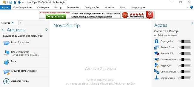 Interface de arquivo WinZip