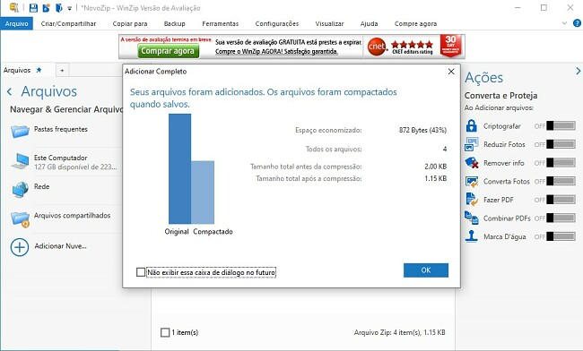 WinZip Compactando arquivos