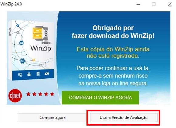 Versão de avaliação do WinZip