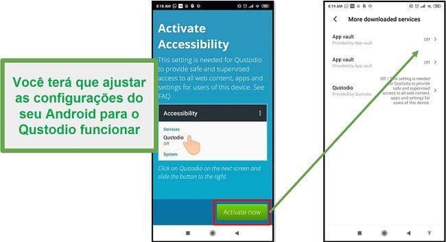 Configurações do Qustodio Android