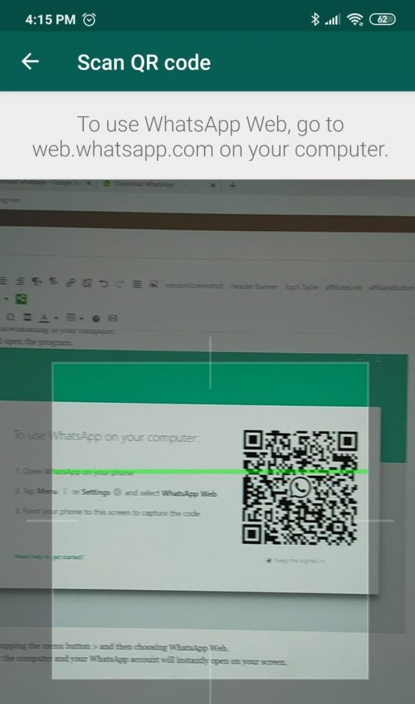 Sync WhatsApp to computer with QR scanner