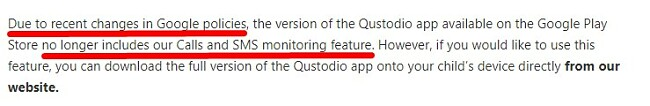 Qustodio Call and SMS feature not available