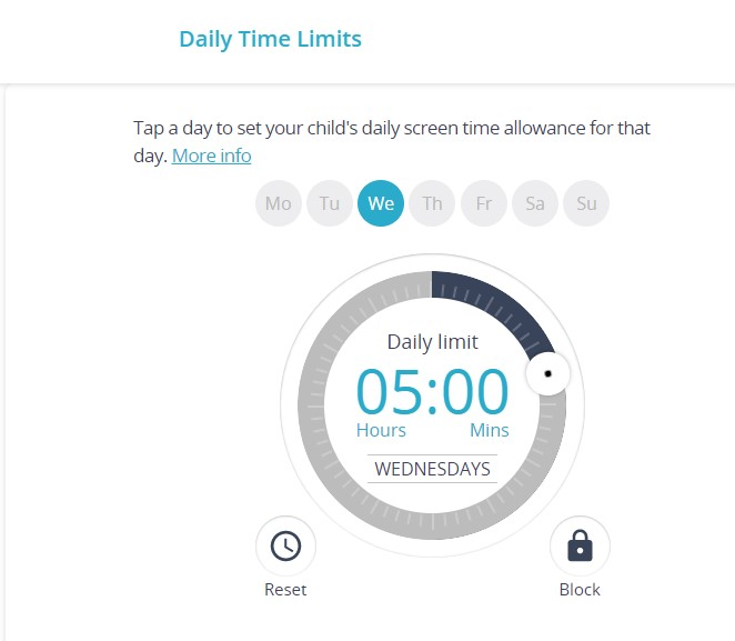 Setting Qustodio daily limits