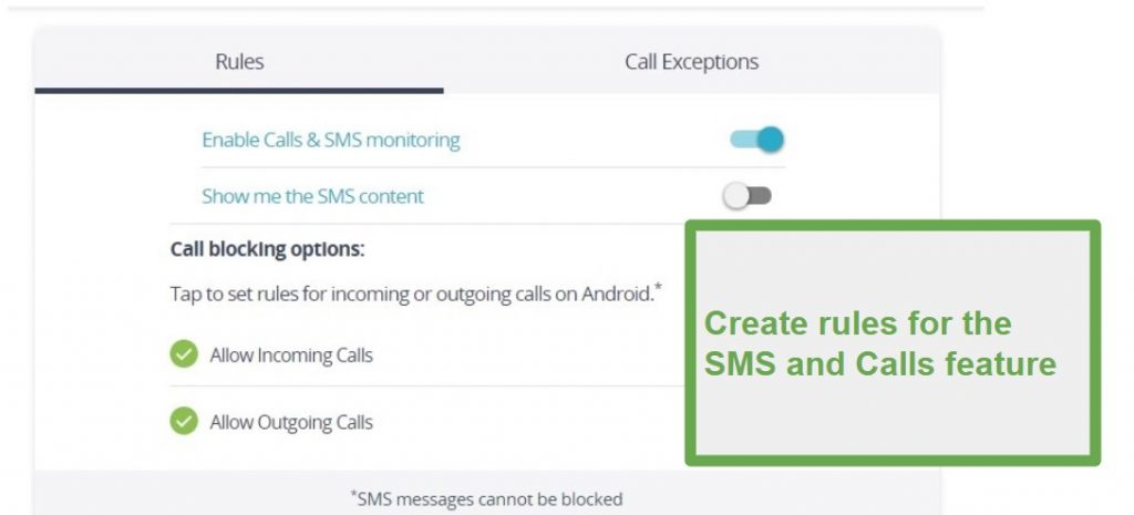 Qustodio Calls and SMS monitoring