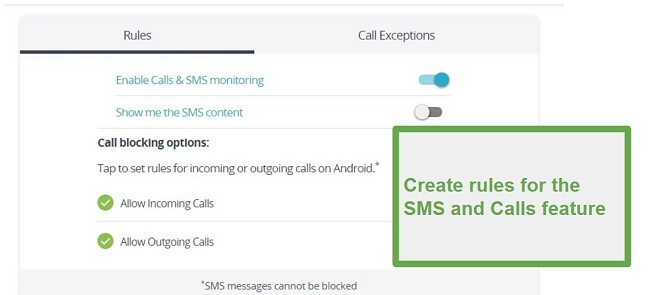 Qustodio Calls and SMS monitoring