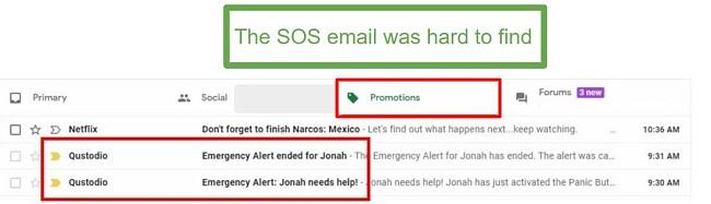 Qustodio SOS emails