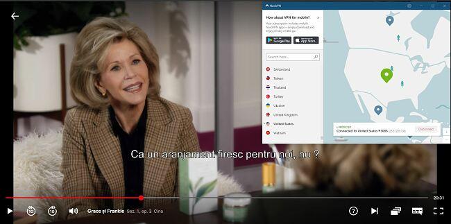 """NordVPN lucrează cu Netflix USA """"Grace and Frankie"""""""