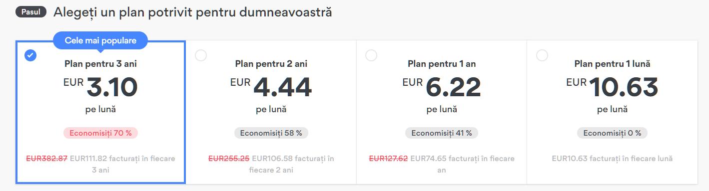 Screenshot a planurilor de plată NordPVN pentru oferte ascunse
