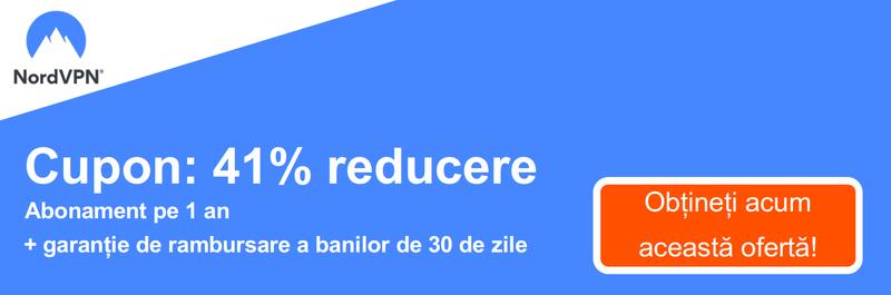 Grafic al unui cupon NordVPN de lucru care oferă o reducere de 41% pentru un abonament de 1 an și o garanție de returnare a banilor de 30 de zile