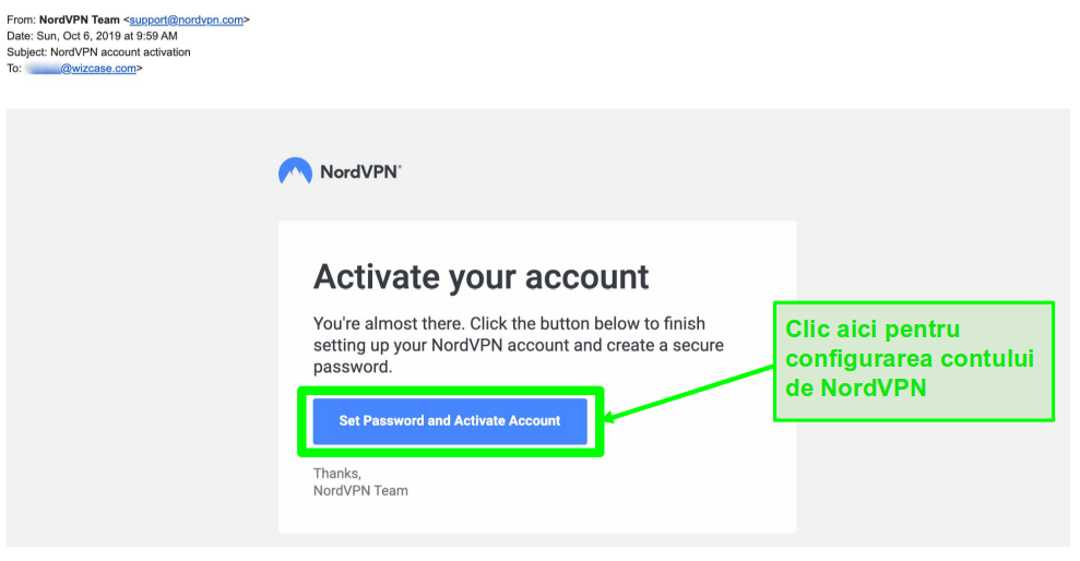 Screenshot de e-mail de activare cont NordVPN