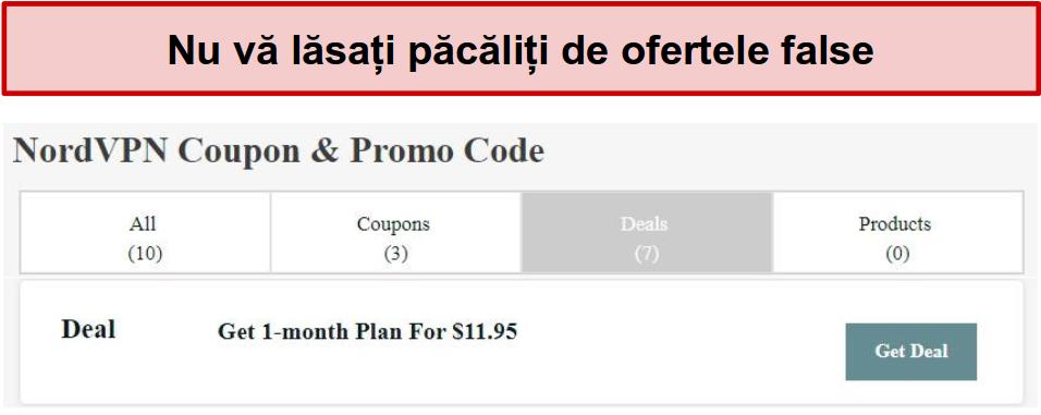 Un site web care prezintă o ofertă de reduceri NordVPN falsă