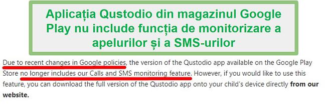 Politica Qustodio Google Play