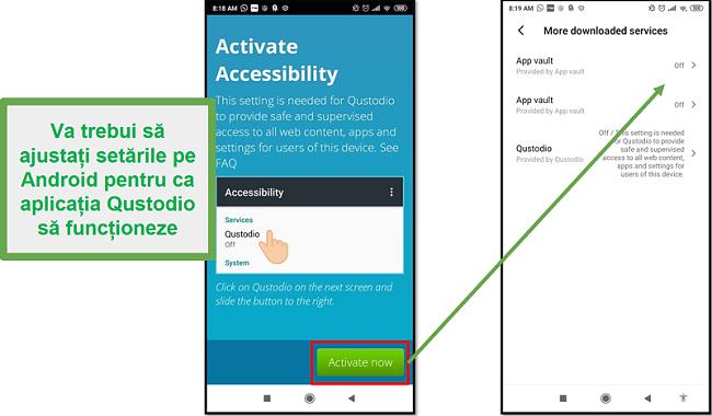 Setări Android Qustodio