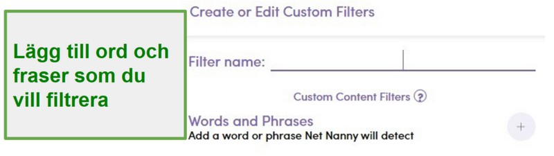 Net Nanny anpassade filter