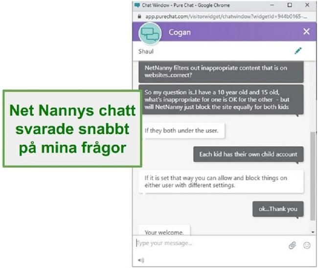 Net Nanny kundtjänst