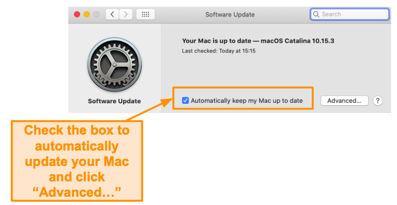 Screenshot of enabling automatically updating a Mac.