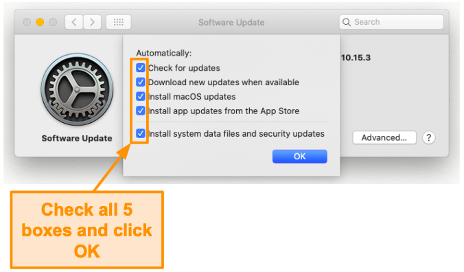Screenshot of enabling all updates options.