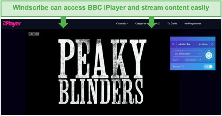 Screenshot of Windscribe's free version unblocking BBC iPlayer.