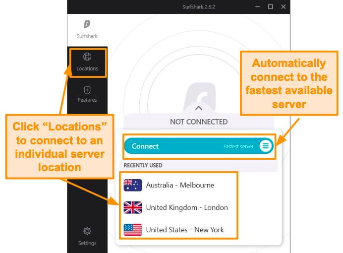 Screenshot of Surfshark's connected server screen.