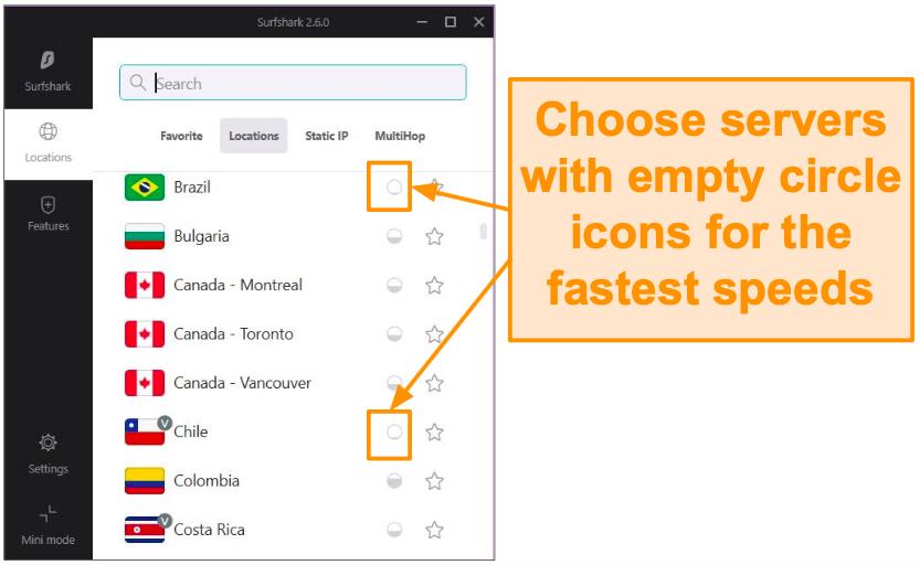 Screenshot of Surfshark's server feature showing how full each server is.