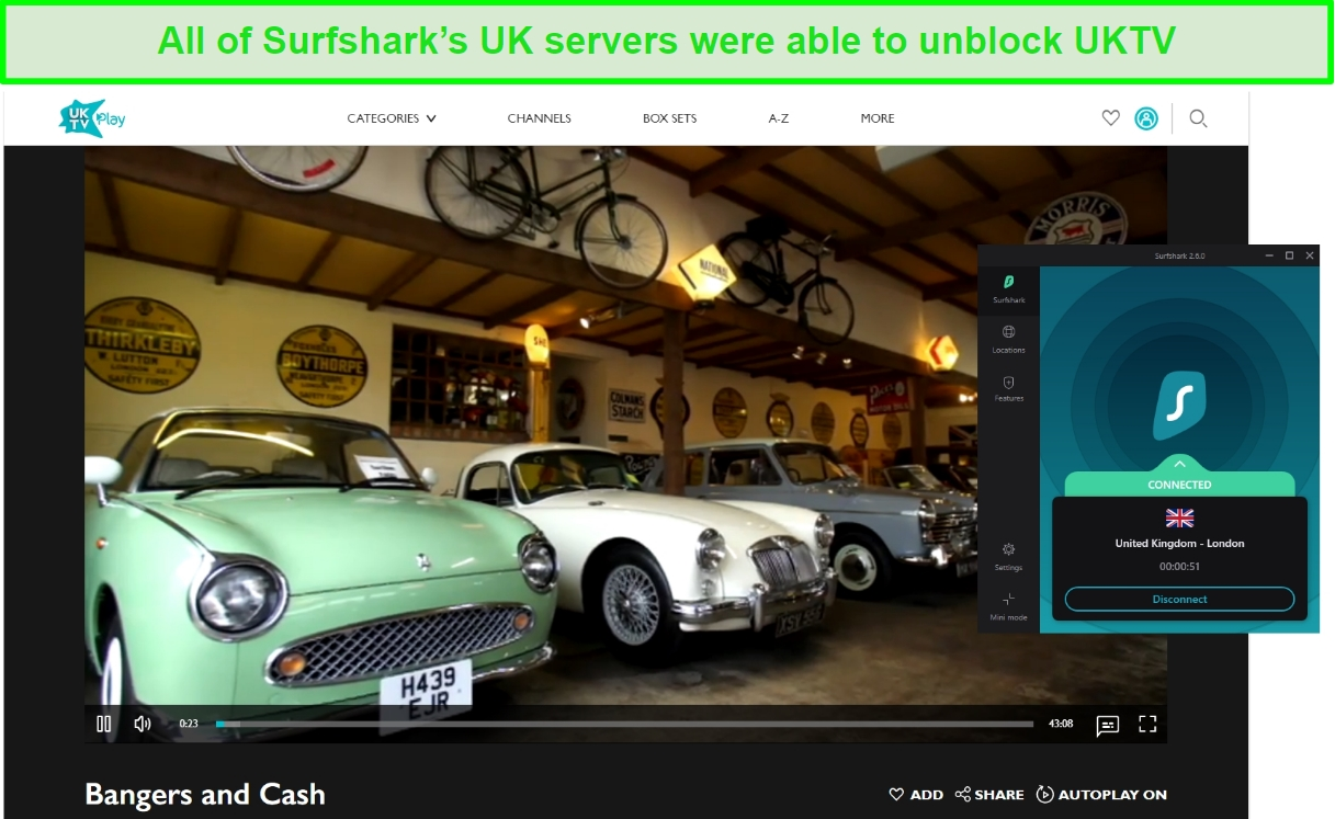 Screenshot of Surfshark unblocking UKTV and streaming Bangers and Cash