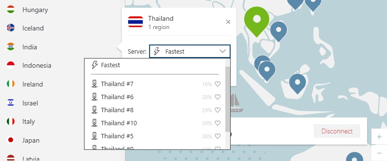 ภาพเซิร์ฟเวอร์ NordVPN ในประเทศไทย