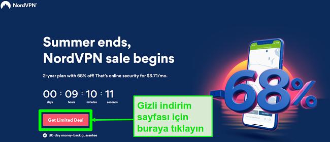 NordVPN gizli fırsatlar sayfasının ekran görüntüsü