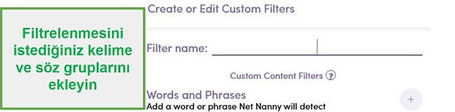 Aile Koruma Şifresi özel filtresi