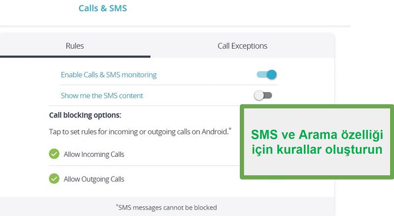 Qustodio aramalarını ve SMS'i izleyin