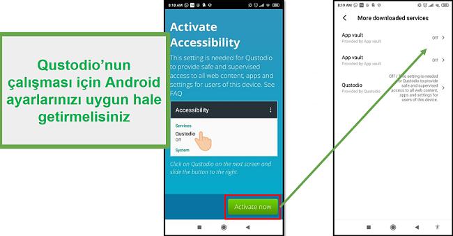 Android Qustodio ayarları