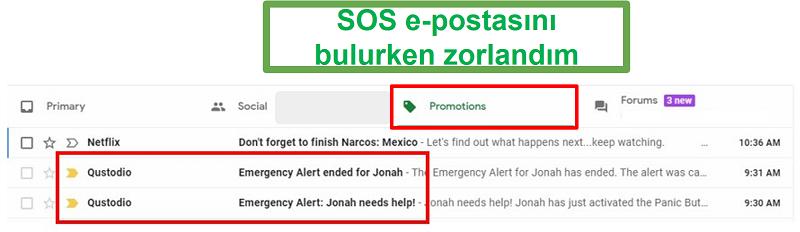 E-posta Qustodio SOS