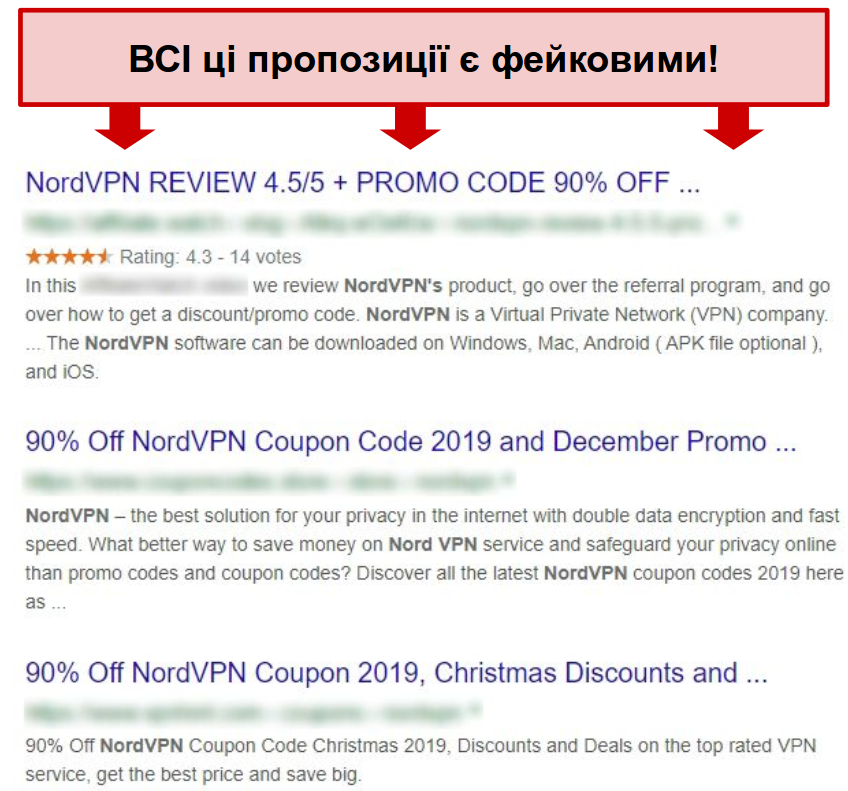 Google results showing fake NordVPN discounts