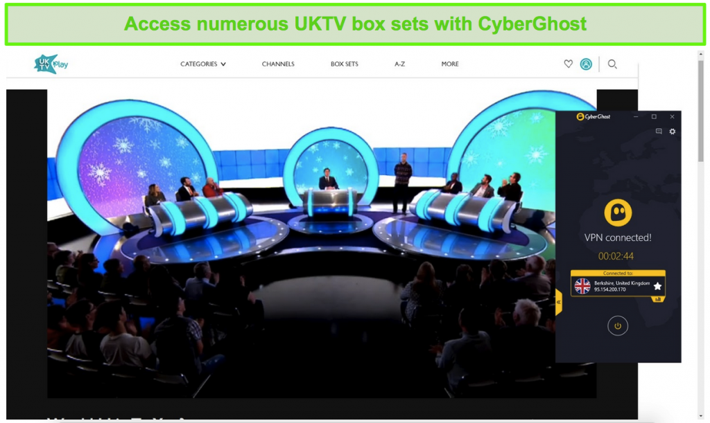 Screenshot of CyberGhost unblocking Would I Lie To You? on UKTV