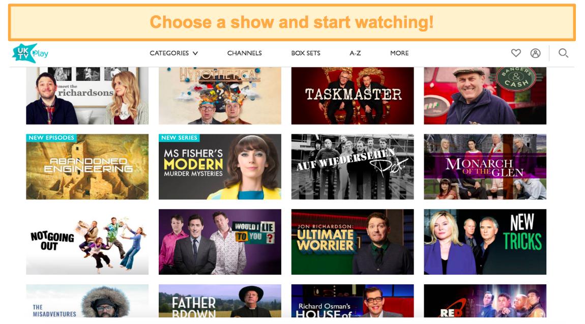 Screenshot of NordVPN unblocking UKTV shows