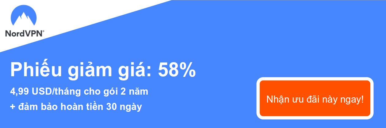 Đồ họa của phiếu giảm giá NordVPN đang hoạt động cung cấp giảm giá 58%, là 4,99 đô la mỗi tháng cho đăng ký 2 năm và bảo đảm hoàn lại tiền trong 30 ngày