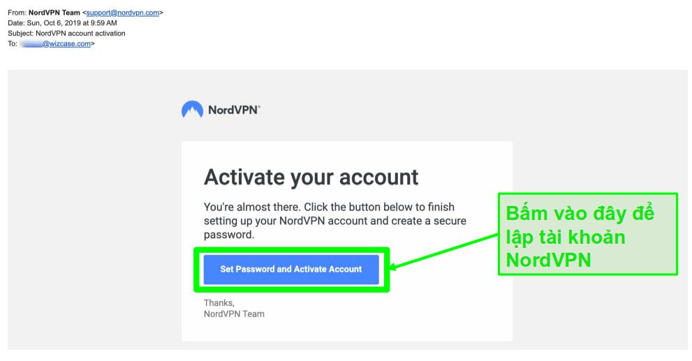 Ảnh chụp màn hình email kích hoạt tài khoản NordVPN