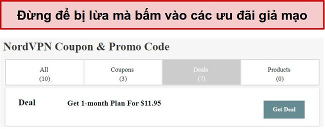 Một trang web hiển thị một thỏa thuận giảm giá giả mạo NordVPN