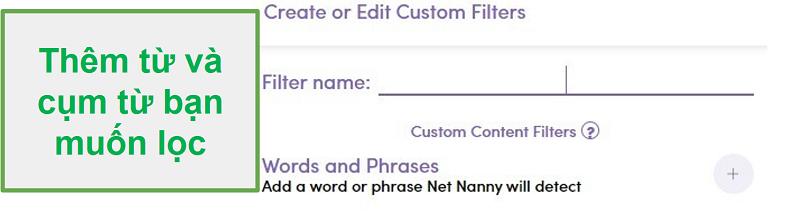 Bộ lọc tùy chỉnh Net Nanny