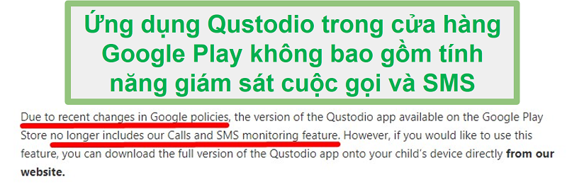 Qustodio Google Play Politikası