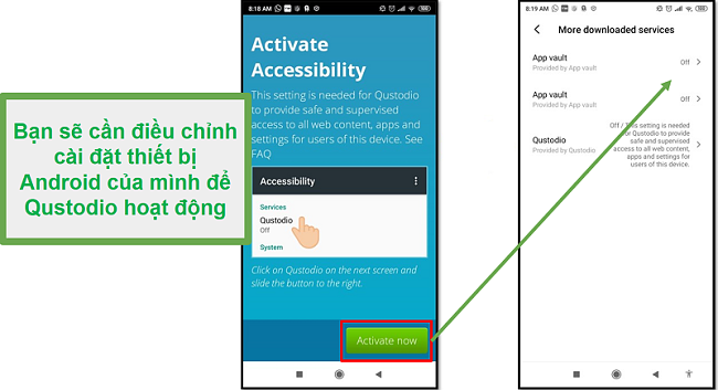 Qustodio Android ayarları