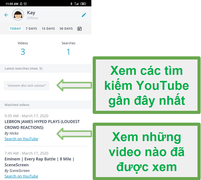 Qustodio'nun Ebeveyn Denetimleri kullanıcı arayüzünün telefon kullanım izleme sonuçlarını gösteren ekran görüntüsü