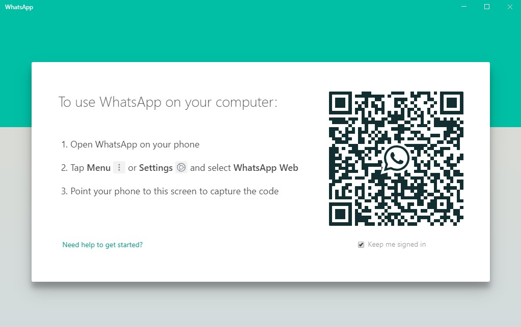 WhatsApp QR-kode for Windows