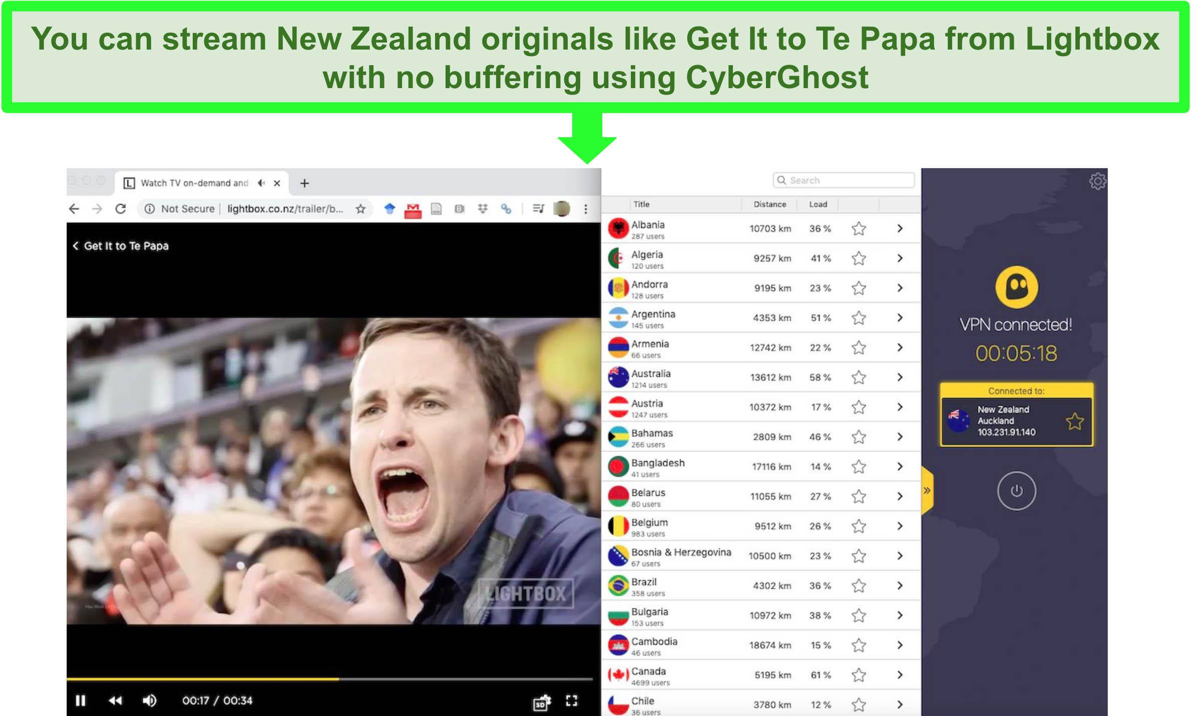 Screenshot of CyberGhost streaming an episode of the New Zealand Lightbox original Get It Te Papa.