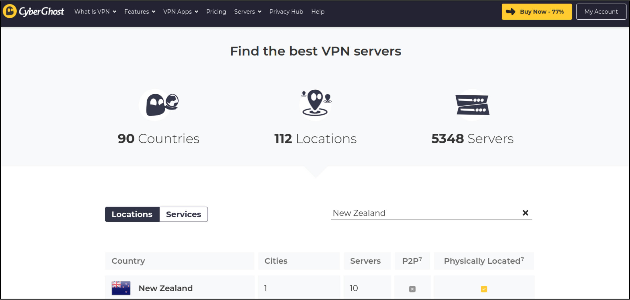 Screenshot of CyberGhost's vendor welcome page for its New Zealand VPN service with product information about its 5,348 servers in 112 locations and countries and 10 servers in Auckland, and purchase links.