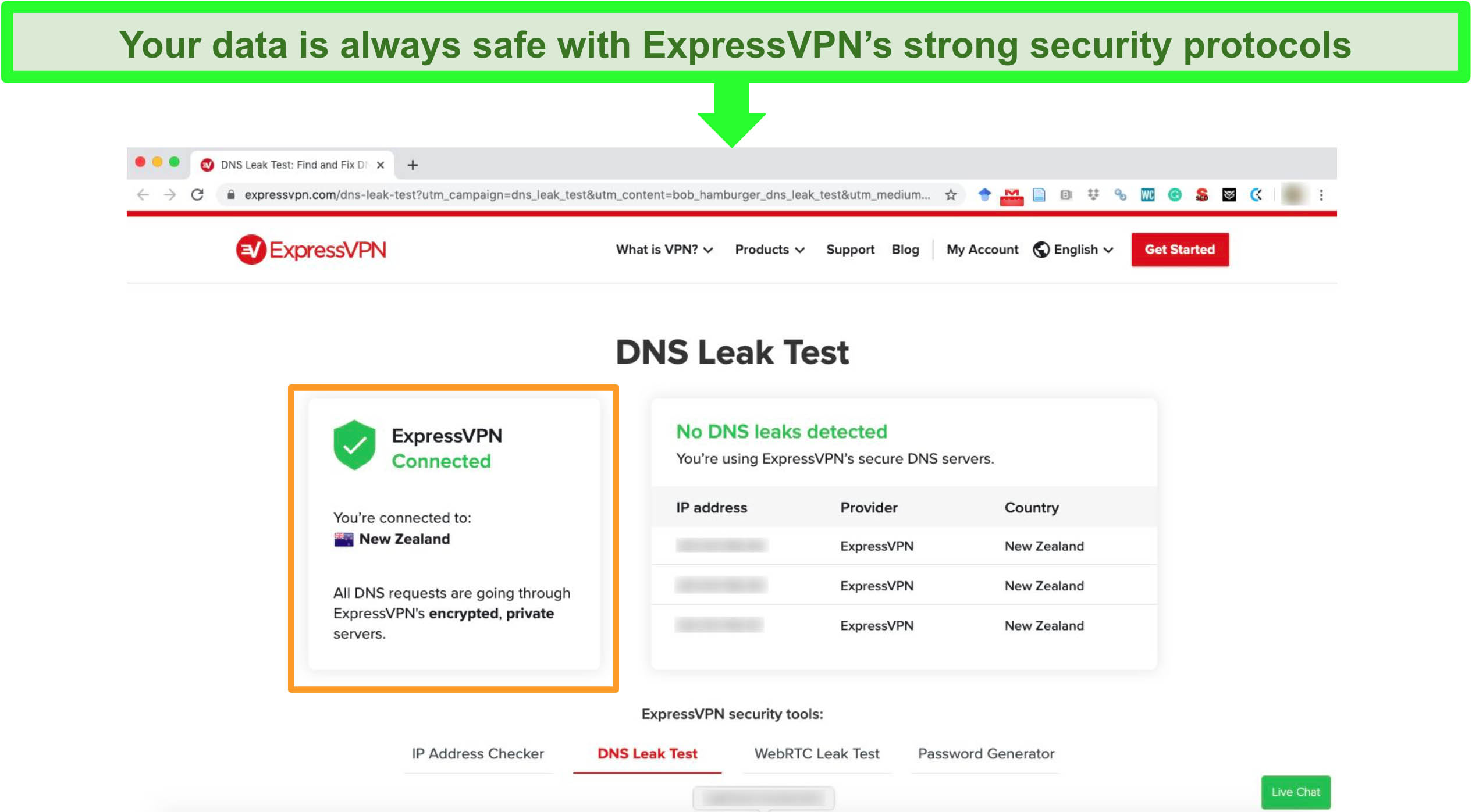 Screenshot of DNS Leak test of ExpressVPN server located in New Zealand with no leak detected.