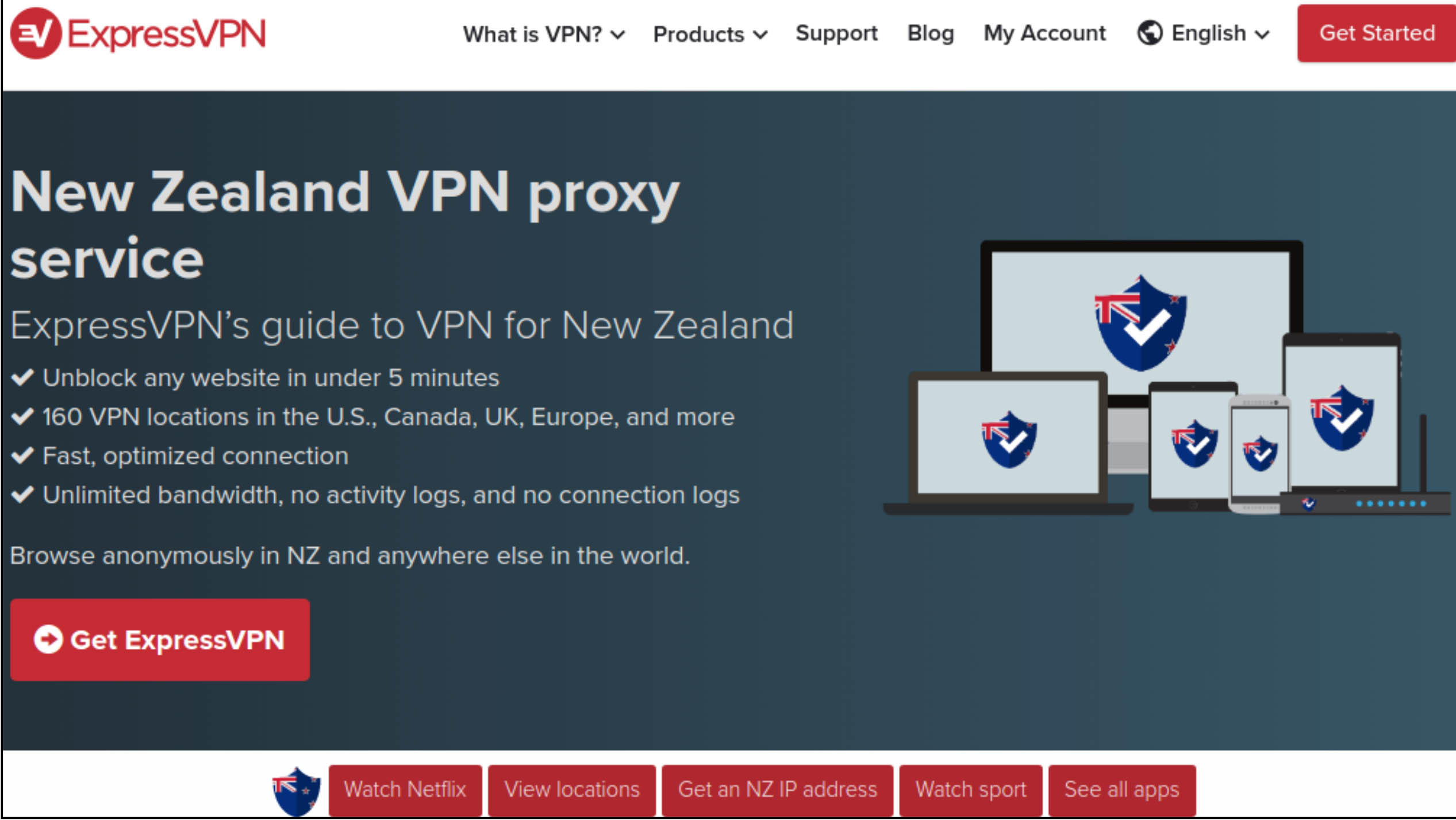 Screenshot of ExpressVPN's vendor welcome page for its New Zealand VPN service with product information and purchasing links.