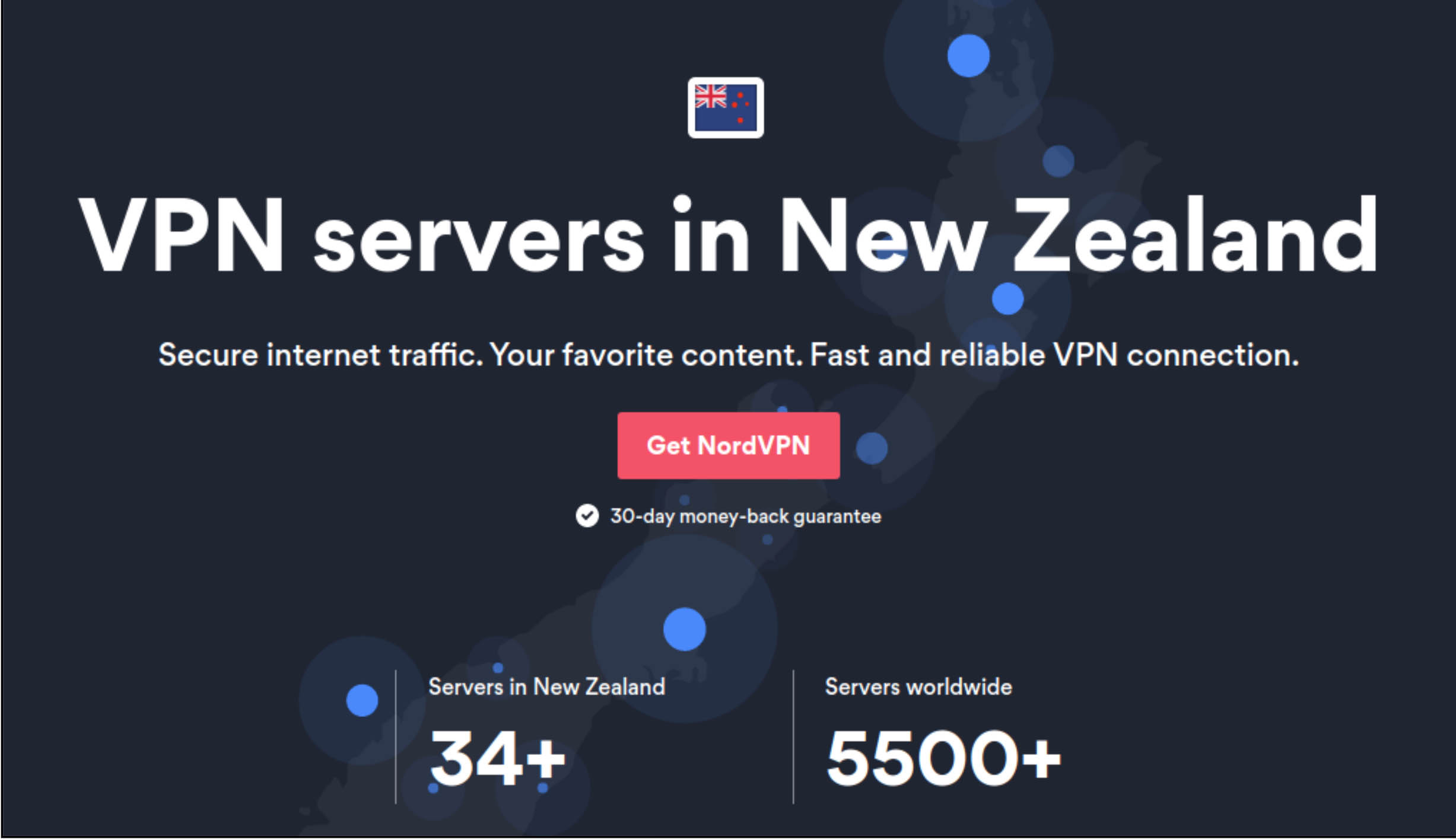 Screenshot of NordVPN's vendor welcome page for its New Zealand VPN service with product information and purchasing links.