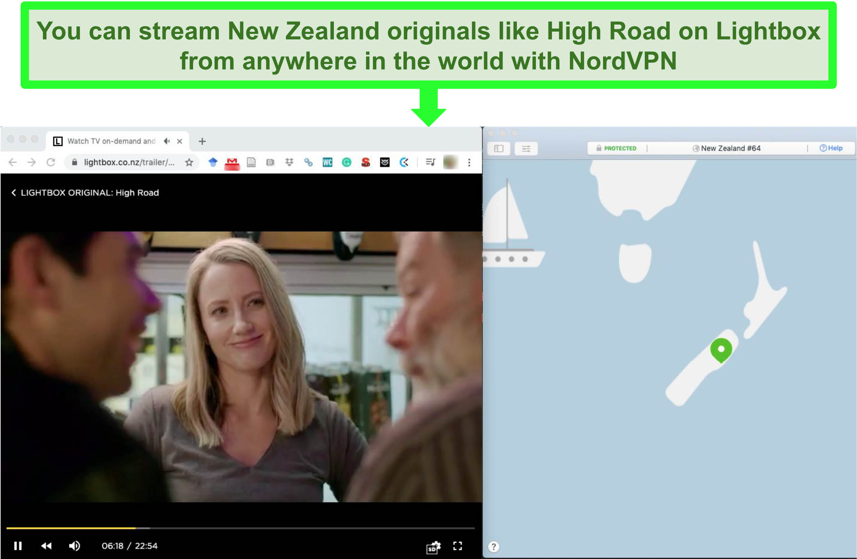 Screenshot of NordVPN streaming an episode of the New Zealand original High Road on Lightbox.