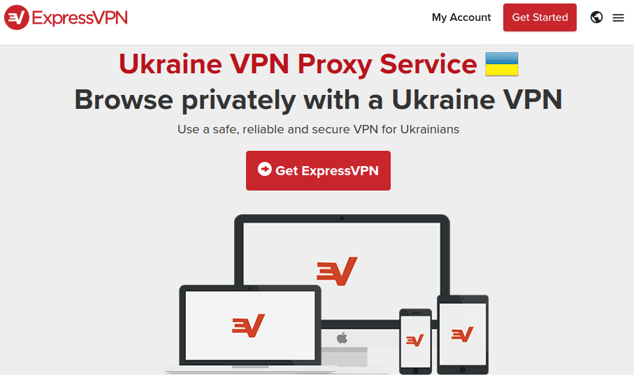 Graphic of ExpressVPN Ukraine page