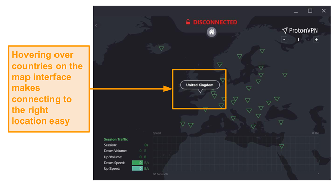 Screenshot of ProtonVPN's interactive server map.